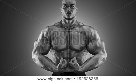 Bodybuilder posing. Fitness muscled man. This is a 3d render illustration