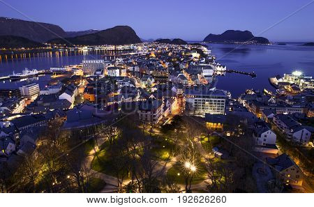 Alesund city skyline by night, western Norway