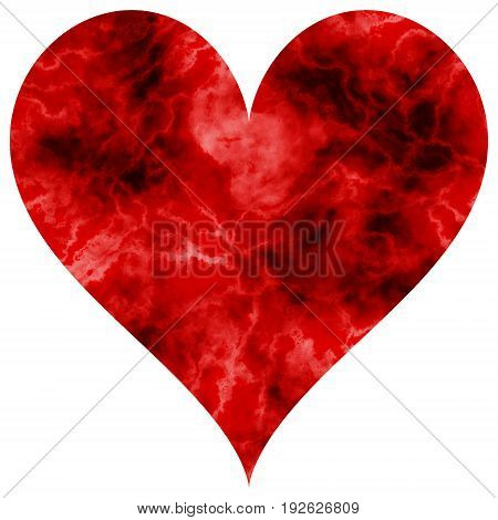 Passion marbled red burgundy love decor heart shape with veins dynamic texture