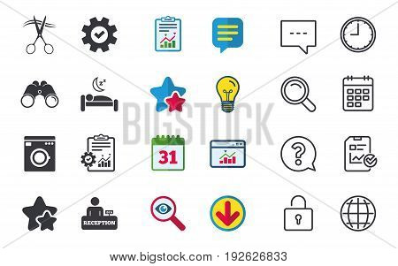 Hotel services icons. Washing machine or laundry sign. Hairdresser or barbershop symbol. Reception registration table. Quiet sleep. Chat, Report and Calendar signs. Vector