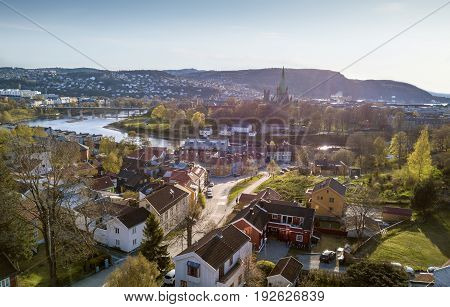 Aerial panorama of Trondheim town in Norway
