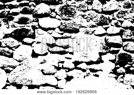 Old stone wall vector texture. Medieval stone paving surface. Obsolete fortress wall. Weathered surface. Black and white vector texture. Aged stone monochrome overlay for vintage effect. Grit trace