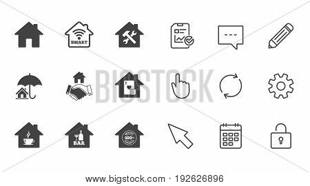 Real estate icons. House insurance, broker and casino with bar signs. Handshake deal, coffee and smart house symbols. Chat, Report and Calendar line signs. Service, Pencil and Locker icons. Vector