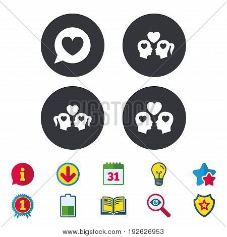 Couple love icon. Lesbian and Gay lovers signs. Romantic homosexual relationships. Speech bubble with heart symbol. Calendar, Information and Download signs. Stars, Award and Book icons. Vector