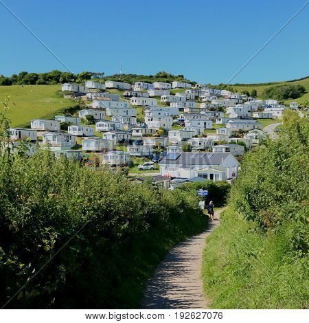 Static caravan park near village of Beer in Devon