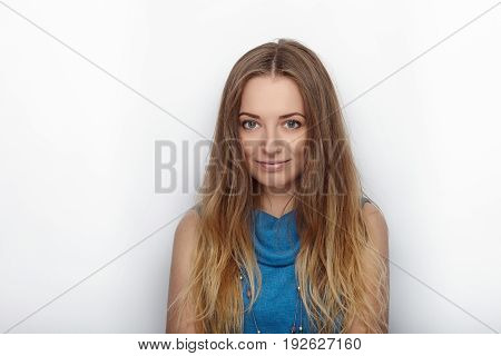 Headshot Of Young Adorable Blonde Woman With Cute Smile On White Background