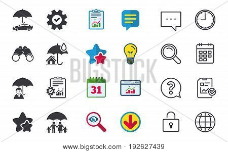Family, Real estate or Home insurance icons. Life insurance and umbrella symbols. Car protection sign. Chat, Report and Calendar signs. Stars, Statistics and Download icons. Question, Clock and Globe