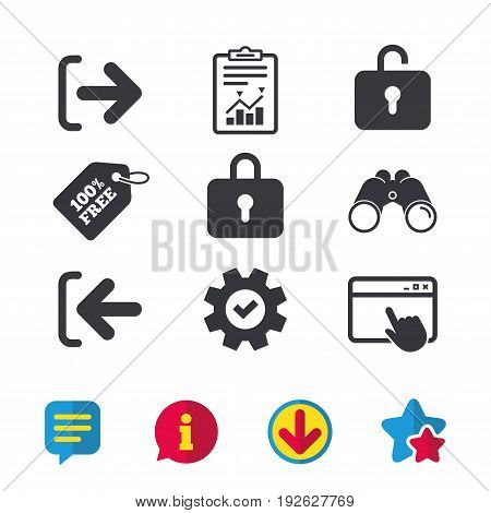 Login and Logout icons. Sign in or Sign out symbols. Lock icon. Browser window, Report and Service signs. Binoculars, Information and Download icons. Stars and Chat. Vector