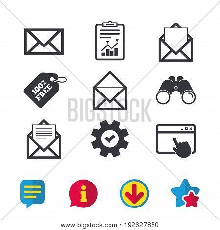 Mail envelope icons. Message document symbols. Post office letter signs. Browser window, Report and Service signs. Binoculars, Information and Download icons. Stars and Chat. Vector