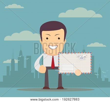 Man in formal-wear is holding a envelope on background. for use in presentations. Vector