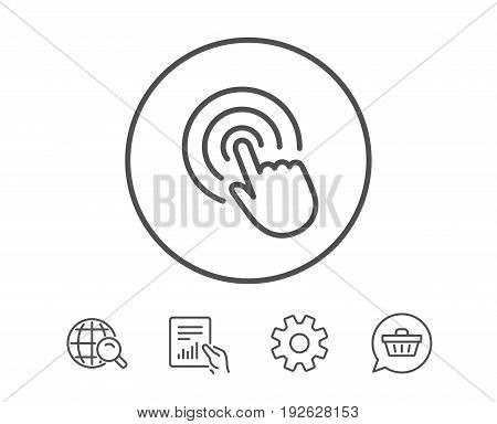Hand Click line icon. Finger touch sign. Cursor pointer symbol. Hold Report, Service and Global search line signs. Shopping cart icon. Editable stroke. Vector