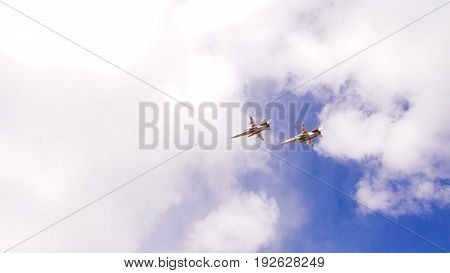 Group of military aircraft in the sky