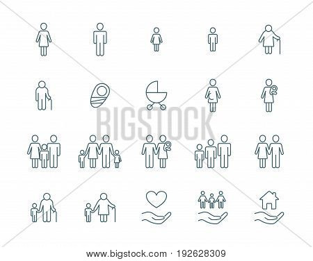Family vector icons set simple linear style