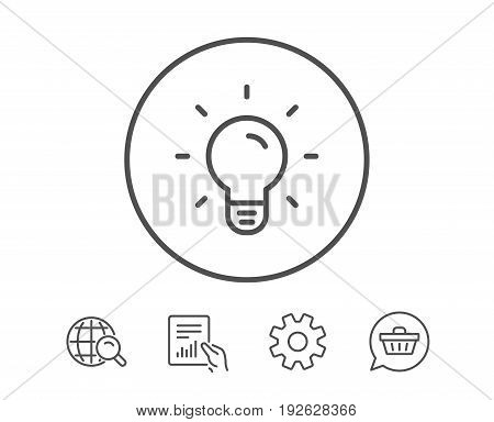 Light Bulb line icon. Lamp sign. Idea, Solution or Thinking symbol. Hold Report, Service and Global search line signs. Shopping cart icon. Editable stroke. Vector