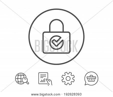Lock with Check line icon. Private locker sign. Password encryption symbol. Hold Report, Service and Global search line signs. Shopping cart icon. Editable stroke. Vector