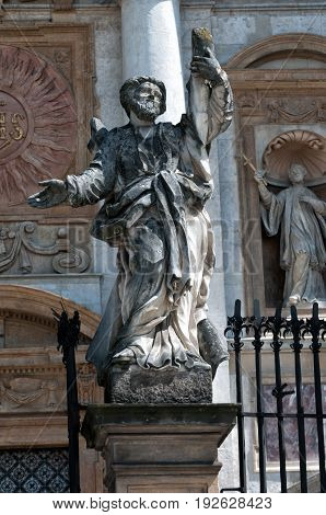 statues of the twelve apostles in Krakow, at the Church Peter and St Paul in Poland.