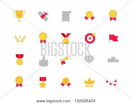 Awards color icons set simple flat style