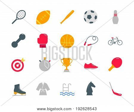 Sport color icons set simple flat style