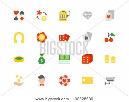 Casino color icons set simple flat style