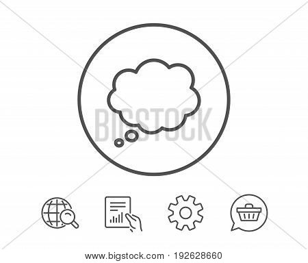 Comic Speech bubble line icon. Chat sign. Communication or Comment symbol. Hold Report, Service and Global search line signs. Shopping cart icon. Editable stroke. Vector