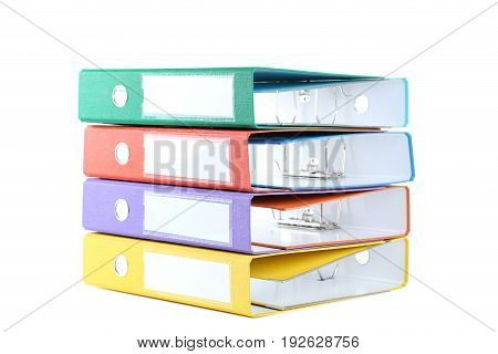 Colorful Office Folders Isolated On A White