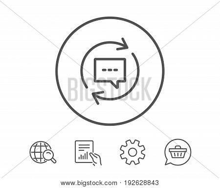 Update Comments line icon. Chat Speech bubble sign. Communication symbol. Hold Report, Service and Global search line signs. Shopping cart icon. Editable stroke. Vector