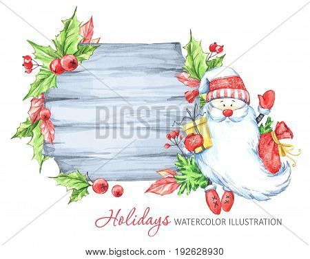 Winter holidays illustration. Watercolor wooden frame with Santa Claus. Christmas, New Year symbol.