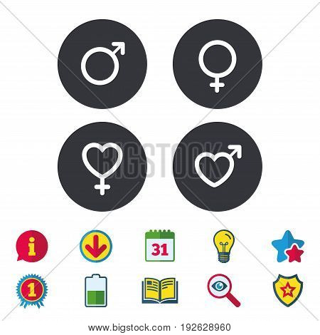 Male and female sex icons. Man and Woman signs with hearts symbols. Calendar, Information and Download signs. Stars, Award and Book icons. Light bulb, Shield and Search. Vector