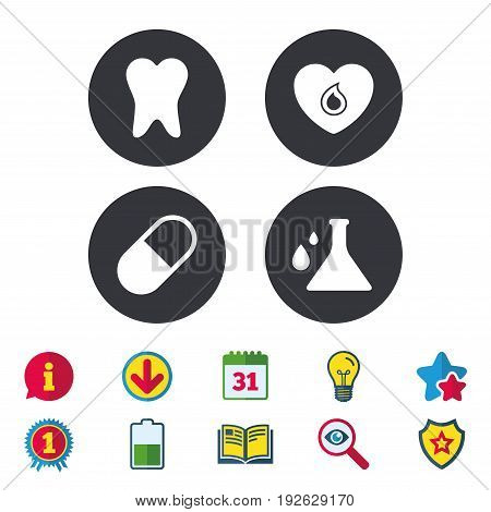 Maternity icons. Pill, tooth, chemistry and heart signs. Blood donation symbol. Lab bulb with drops. Dental care. Calendar, Information and Download signs. Stars, Award and Book icons. Vector