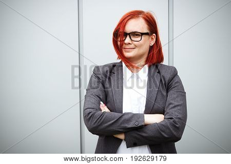 Success! Victory! Happy Successful Red-haired Girl Boss, Businesswoman In Suit And Glasses, With Spa
