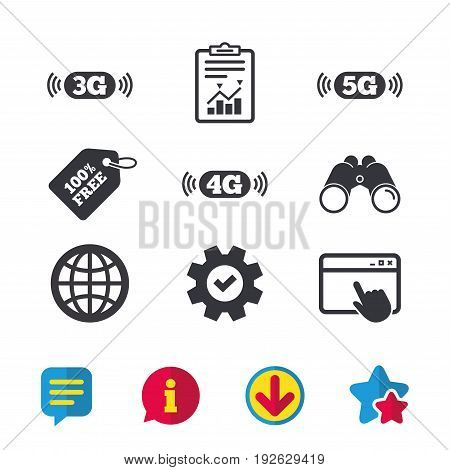 Mobile telecommunications icons. 3G, 4G and 5G technology symbols. World globe sign. Browser window, Report and Service signs. Binoculars, Information and Download icons. Stars and Chat. Vector