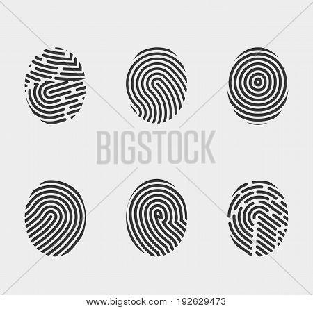 finger print icons set vector fingerprint symbol