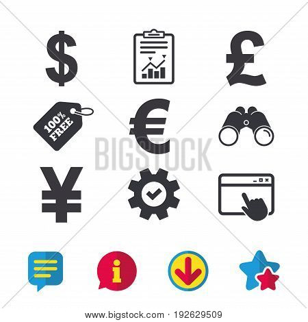 Dollar, Euro, Pound and Yen currency icons. USD, EUR, GBP and JPY money sign symbols. Browser window, Report and Service signs. Binoculars, Information and Download icons. Stars and Chat. Vector
