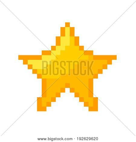 Pixel star vector icon gold pixel star big square
