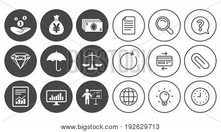 Money, cash and finance icons. Money savings, justice scales and report signs. Presentation, analysis and umbrella symbols. Document, Globe and Clock line signs. Lamp, Magnifier and Paper clip icons