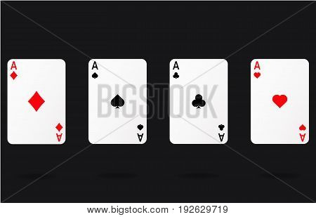 Ace gamble playing casino cards vector hearts spade diamond ace symbols poker icons