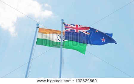 New Zealand and India, two flags waving against blue sky. 3d image