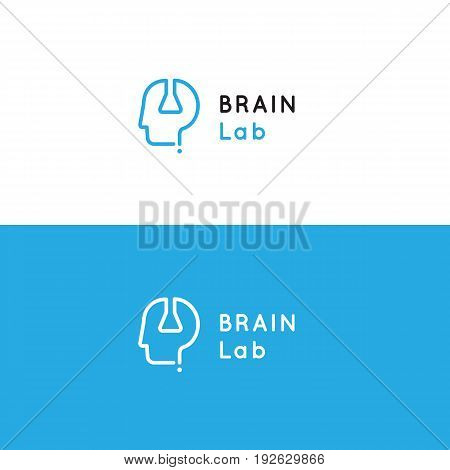 Logo for psychology medical health center with human head, test tube and question sign. Brain laboratory vector symbol