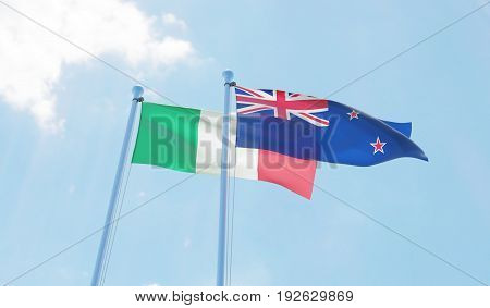 New Zealand and Italy, two flags waving against blue sky. 3d image