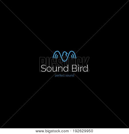 Creative minimalistic sound wave bird logo. Music production vector symbol.