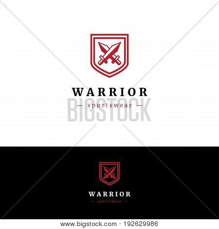 Minimalistic logo with two swords and shield. Abstract company vector symbol