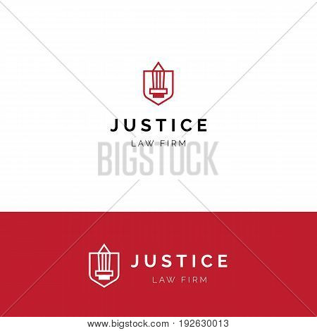 Minimalistic logo with sword and shield. Law firm vector symbol
