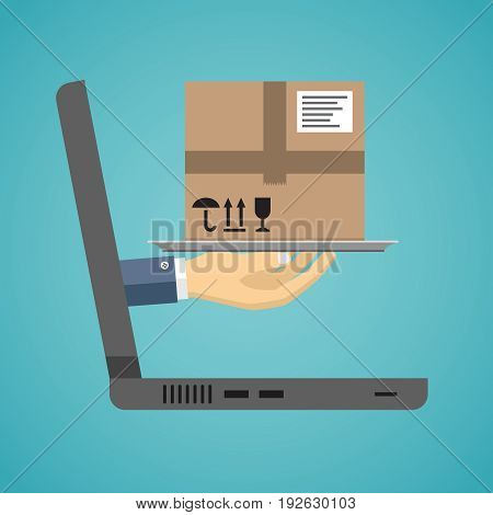 Delivery service concept. Hand with a package on the cloche going from laptop screen. Vector illustration flat design.