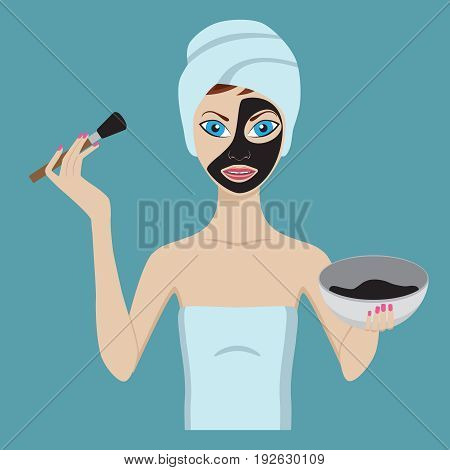 Young girl applying black facial beauty mask.