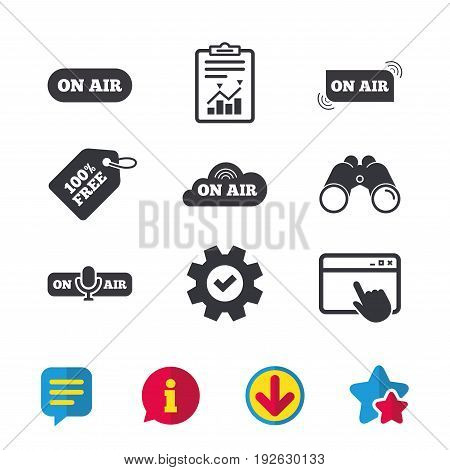 On air icons. Live stream signs. Microphone symbol. Browser window, Report and Service signs. Binoculars, Information and Download icons. Stars and Chat. Vector