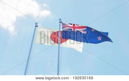 New Zealand and Japan, two flags waving against blue sky. 3d image