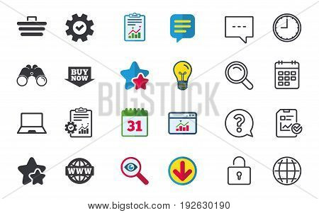 Online shopping icons. Notebook pc, shopping cart, buy now arrow and internet signs. WWW globe symbol. Chat, Report and Calendar signs. Stars, Statistics and Download icons. Question, Clock and Globe