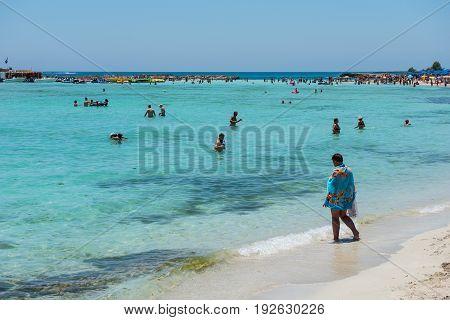 Nissi Beach Resort. White Sand And Crystal Clear Sea Water. Cyprus Island