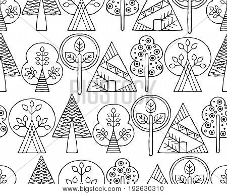Vector hand drawn seamless pattern, decorative stylized black and white childish trees. Doodle sketch style, graphic illustration, background. Ornamental cute hand drawing. Line drawing.