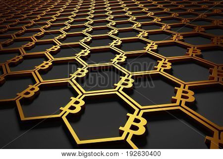 Bitcoin symbols connected in a pattern. Cryptocurrency background. 3D illustration.